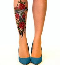 Stop and Stare Tattoo Tights with  Birds & Roses